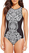 Jantzen Damask Tummy Control High Neck One-Piece