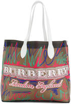 Burberry reversible doodle print tote