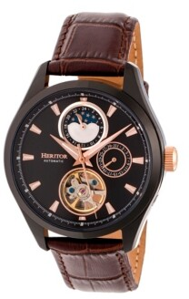 Heritor Automatic Sebastian Black & Brown Leather Watches 40mm