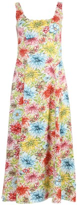 ALEXACHUNG Multicolored Floral Mid-length Dress