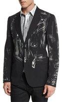 Moschino Trompe L'Oeil Moto-Jacket Blazer
