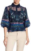 Gracia Embroidered See-Through Blouse