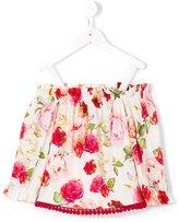 Monnalisa Jakioo - floral print off-the-shoulder top - kids - Cotton/Spandex/Elastane - 8 yrs