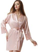 Aivtalk Women Sexy Satin Silk Lace Kimono Sleepwear Robes Lingerie Dress