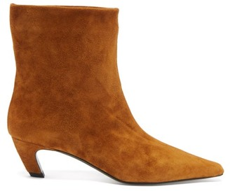 KHAITE Arizona Square-toe Suede Ankle Boots - Tan