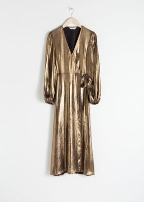 And other stories Metallic Satin Midi Dress