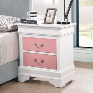 Lark Manor Babcock 2 - Drawer Nightstand Color: White/Pink