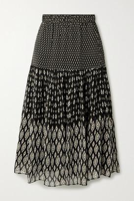Vanessa Bruno Hernani Tiered Printed Chiffon Midi Skirt - Black