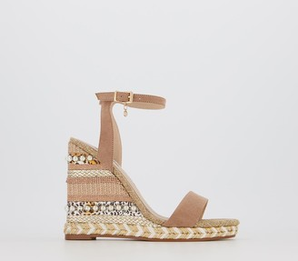 Office Hola High Espadrilles Nude With Mix Metallic Jute