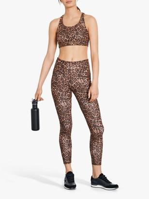 Hush Activewear Leopard Print Strappy Sports Bra, Brown