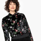 La Redoute Collections Floral Embroidered Velour Hoodie