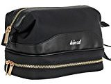 Kinzd Travel Cosmetic Bag for Women Portable Leather Toiletry Bag Hanging MakeUp Organizer Double Layer Multiple Compartments Waterproof (Black)
