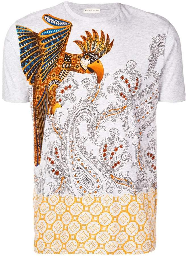 Etro parrot and paisley print T-shirt
