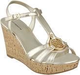Liz Claiborne Kattie Logo Wedge Sandals