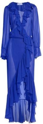 Saint Laurent Ruffled Sheer Wrap Midi Dress