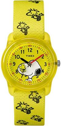 Timex Kids TW2R41500 Time Machines Peanuts Snoopy & Woodstock Elastic Fabric Strap Watch