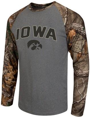 Colosseum Men's Heathered Gray/Realtree Camo Iowa Hawkeyes Break Action Long Sleeve Raglan T-Shirt