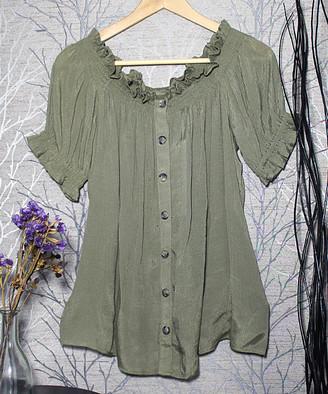 Harve Benard Women's Tunics SAFARI - Safari Green Smocked-Neck Short-Sleeve Button-Up - Women