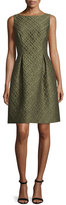 Lela Rose Betsy Check-Matelasse Full-Skirt Dress, Olive