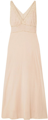 Mes Demoiselles Gibson Lace-trimmed Broderie Anglaise Cotton-blend Maxi Dress