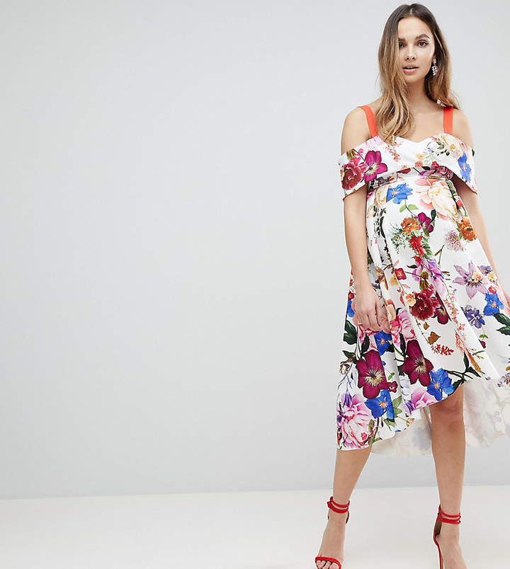 Asos Botanical Floral Cold Shoulder Midi Prom Dress