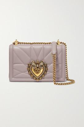 Dolce & Gabbana Devotion Mini Embellished Quilted Leather Shoulder Bag - Gray
