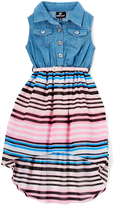 Dollhouse Light Blue & Pink Stripe Hi-Low Dress - Toddler & Girls