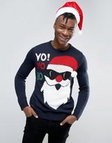 Pull&Bear Holidays Sweater In Navy With Santa Yo Ho Ho Print