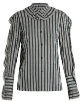 Sonia Rykiel Striped ruffle-trimmed crepe blouse