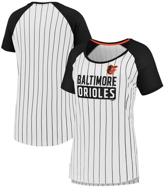 Women's Fanatics Branded White/Black Baltimore Orioles Plus Size Iconic Pinstripe Raglan T-Shirt