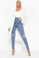 boohoo High Waist Distressed Skinny Jeans