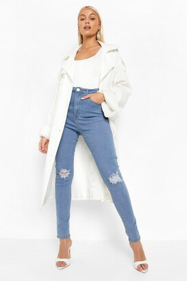 boohoo High Waist Distressed Skinny Jeans