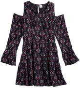 Mudd Girls Plus Size Cold-Shoulder Bell Sleeve Patterned Dress