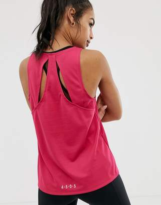 Asos 4505 4505 tank top with cross back detail in recycled polyester-Pink
