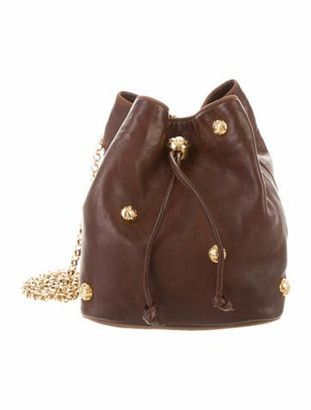 Salvatore Ferragamo Leather Studded Bucket Bag Brown