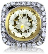 18k Two Tone Gold Bezel Set Fancy Light Yellow Diamond Engagement Ring
