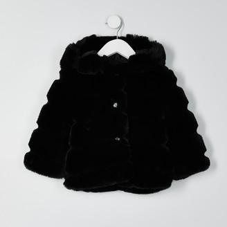 River Island Mini girls Black faux fur hood coat