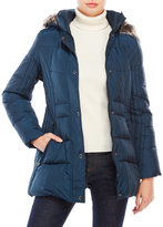 Anne Klein Quilted Down Coat with Faux Fur Trim