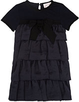 Lanvin RUFFLE-FRONT JERSEY DRESS-NAVY SIZE 10