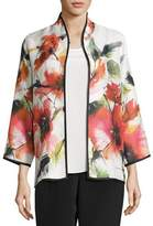 Caroline Rose Poppy Bouquet Mandarin-Collar Jacket, Multi, Plus Size