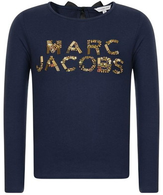 Marc Jacobs Children Girls Logo Sequin Long Sleeved T Shirt
