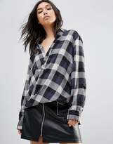 Blank NYC Check Wrap Front Blouse