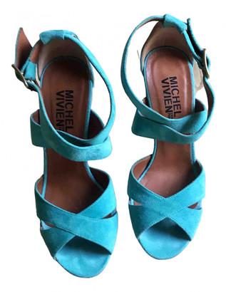 Michel Vivien Turquoise Suede Sandals