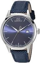 88 Rue du Rhone Men's 'Rive' Swiss Quartz Stainless Steel and Leather Dress Watch, Color:Blue (Model: 87WA154107)