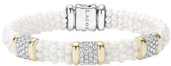 Lagos White Caviar Pearl & Diamond 9mm Bracelet