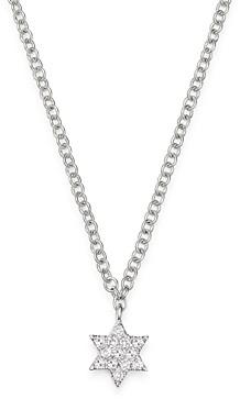 Meira T 14K White Gold Diamond Star of David Adjustable Pendant Necklace, 18
