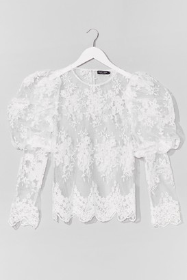 Nasty Gal Womens Lace Make a Start Puff Sleeve Blouse - White