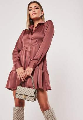 Missguided Pink Satin Button Front Smock Shirt Dress
