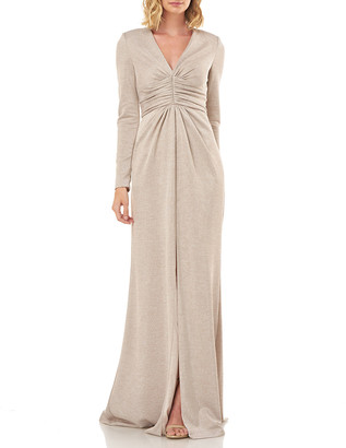 Kay Unger New York Kayla Metallic V-Neck Long-Sleeve Gown