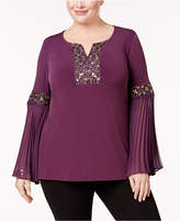 JM Collection Plus Size Embellished Bell-Sleeve Top, Created for Macy's